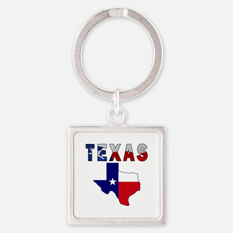 Flag Map With Texas Square Keychain