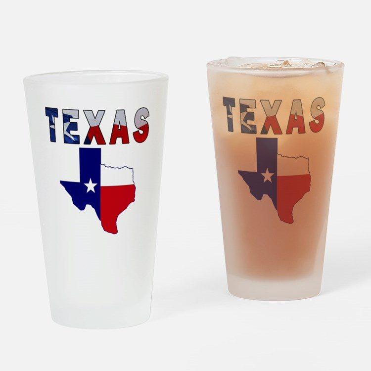 Flag Map With Texas Drinking Glass