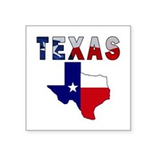 "Flag Map With Texas Square Sticker 3"" x 3"""