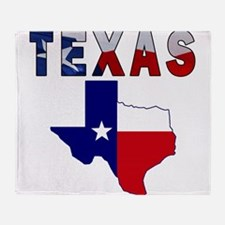 Flag Map With Texas Throw Blanket