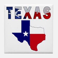 Flag Map With Texas Tile Coaster