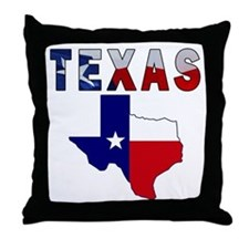 Flag Map With Texas Throw Pillow
