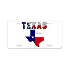 Flag Map With Texas Aluminum License Plate