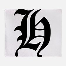 Gothic Initial H Throw Blanket