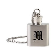 Gothic Initial M Flask Necklace
