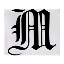 Gothic Initial M Throw Blanket