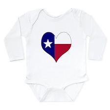 I Love Texas Flag Heart Long Sleeve Infant Bodysui