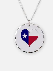 I Love Texas Flag Heart Necklace