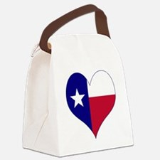 I Love Texas Flag Heart Canvas Lunch Bag