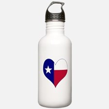 I Love Texas Flag Heart Water Bottle