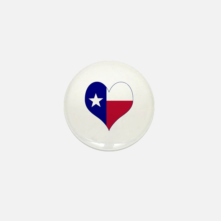 I Love Texas Flag Heart Mini Button