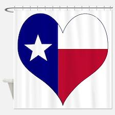 I Love Texas Flag Heart Shower Curtain