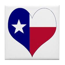 I Love Texas Flag Heart Tile Coaster