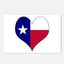 I Love Texas Flag Heart Postcards (Package of 8)