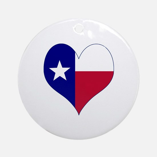 I Love Texas Flag Heart Ornament (Round)