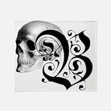 Gothic Skull Initial B Throw Blanket