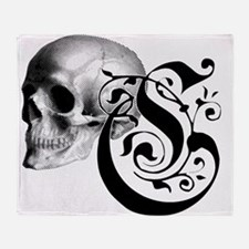 Gothic Skull Initial C Throw Blanket