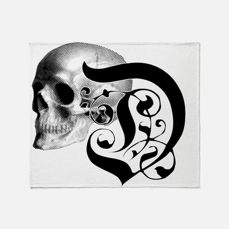 Gothic Skull Initial D Throw Blanket
