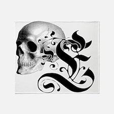 Gothic Skull Initial E Throw Blanket