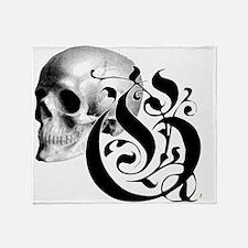 Gothic Skull Initial G Throw Blanket