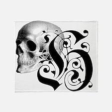 Gothic Skull Initial H Throw Blanket