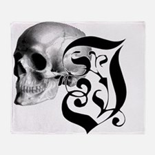 Gothic Skull Initial I Throw Blanket