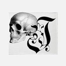 Gothic Skull Initial J Throw Blanket