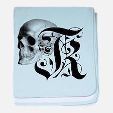Gothic Skull Initial K baby blanket