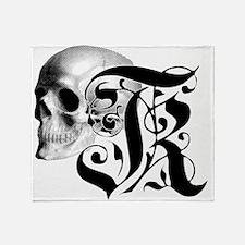 Gothic Skull Initial K Throw Blanket