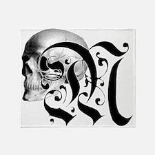 Gothic Skull Initial M Throw Blanket