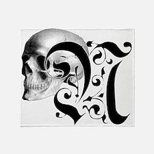 Gothic Skull Initial N Throw Blanket