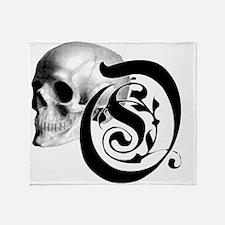 Gothic Skull Initial O Throw Blanket
