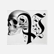 Gothic Skull Initial P Throw Blanket