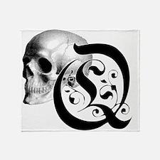 Gothic Skull Initial Q Throw Blanket