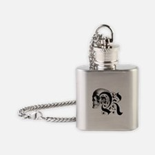 Gothic Skull Initial R Flask Necklace