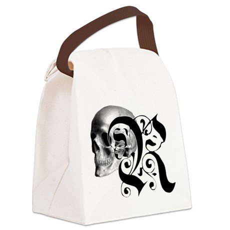 Gothic Skull Initial R Canvas Lunch Bag
