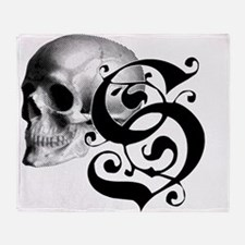 Gothic Skull Initial S Throw Blanket