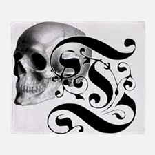 Gothic Skull Initial T Throw Blanket