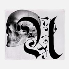 Gothic Skull Initial U Throw Blanket