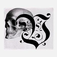 Gothic Skull Initial V Throw Blanket