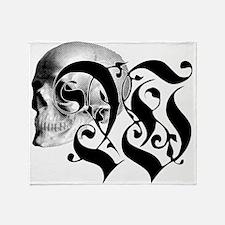 Gothic Skull Initial W Throw Blanket