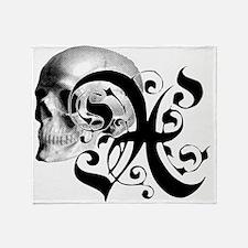 Gothic Skull Initial X Throw Blanket