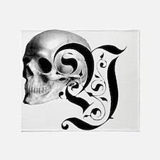 Gothic Skull Initial Y Throw Blanket