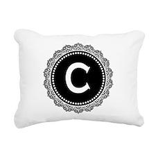 Monogram Medallion C Rectangular Canvas Pillow