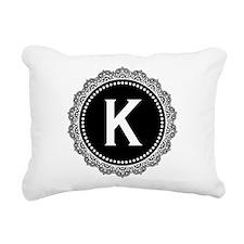 Monogram Medallion K Rectangular Canvas Pillow