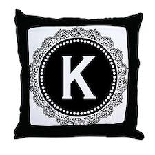 Monogram Medallion K Throw Pillow