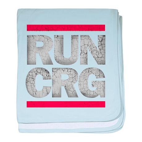RUN CRG (cracked text) baby blanket