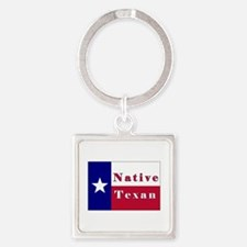 Native Texan Lone Star Flag Square Keychain