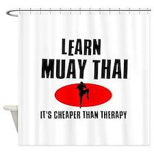 Muay Thai silhouette designs Shower Curtain