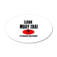 Muay Thai silhouette designs 20x12 Oval Wall Decal